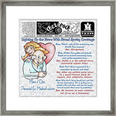 Real Fake News Personal And Medical Column Framed Print by Dawn Sperry