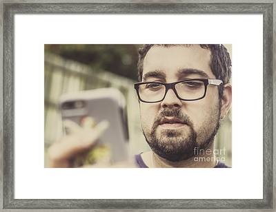 Real Life Bearded Hipster Using Smart Phone Framed Print by Jorgo Photography - Wall Art Gallery