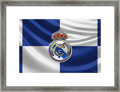 Real Madrid C F - 3 D Badge Over Flag Framed Print by Serge Averbukh