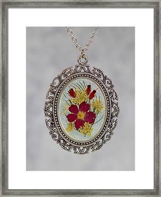 Real Pressed Verbena And Heather Blossoms Framed Print