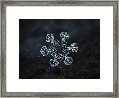 Framed Print featuring the photograph Real Snowflake - Ice Crown New by Alexey Kljatov