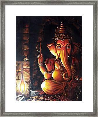 Portrait Of Lord Ganapathy Ganesha Framed Print
