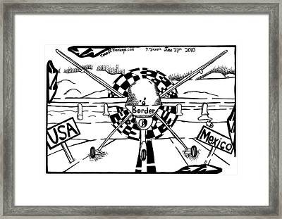 Reaper Drone For The Us Mexico Border By Yonatan Frimer Framed Print by Yonatan Frimer Maze Artist