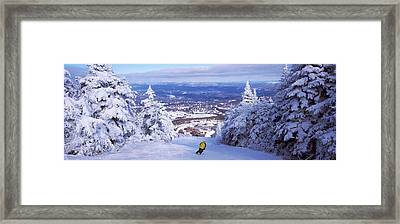 Rear View Of A Person Skiing, Stratton Framed Print