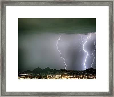 Reata Pass City Lights Lightning Strikes Framed Print