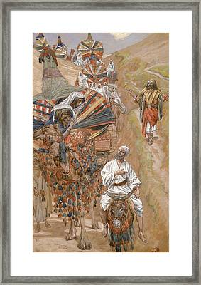 Rebecca Meets Isaac By The Way Framed Print by James Tissot