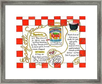 Recipe -spaghetti Sauce  Framed Print