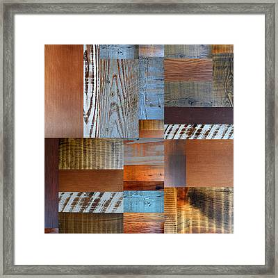 Reclaimed Wood Collage 1.0 Framed Print by Michelle Calkins
