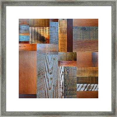 Reclaimed Wood Collage 2.0 Framed Print by Michelle Calkins