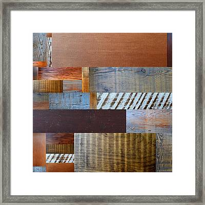 Reclaimed Wood Collage 3.0 Framed Print by Michelle Calkins