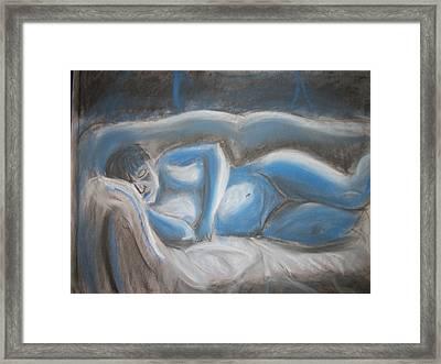 Reclining Blue Framed Print by Adam Davis