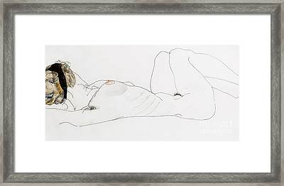 Reclining Female Nude Framed Print by Egon Schiele