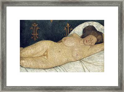 Reclining Female Nude Framed Print by Paula Modersohn-Becker