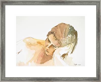 Reclining Head Framed Print by Eugenia Picado