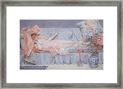 Reclining Model Framed Print by Albert Joseph Moore