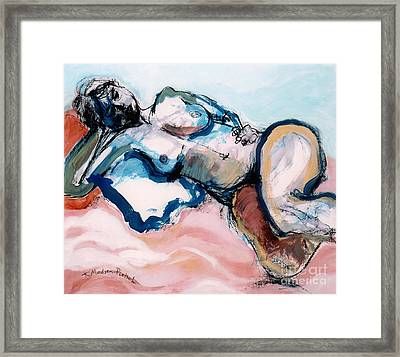 Reclining Multi-coloured Gestural Nude Framed Print