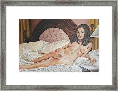 Reclining Nude Framed Print by Kenneth Kelsoe