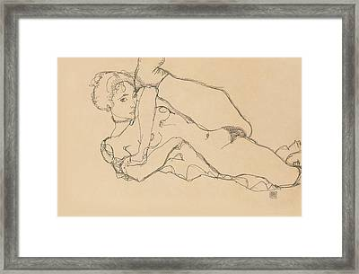 Reclining Nude With Left Leg Drawn In Framed Print