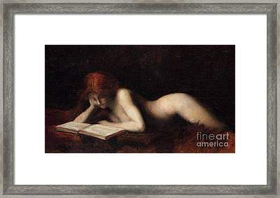 Reclining Nude Woman Reading A Book  Framed Print by Jean-Jacques Henner