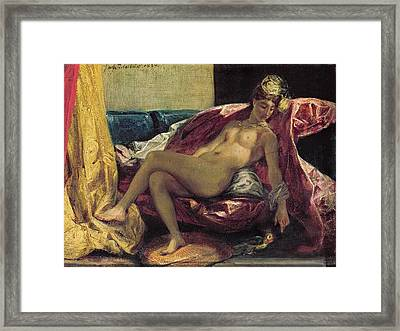 Reclining Odalisque Framed Print by Ferdinand Victor Eugene Delacroix