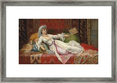 Reclining Turkish Woman Framed Print by Emile Henri La Porte