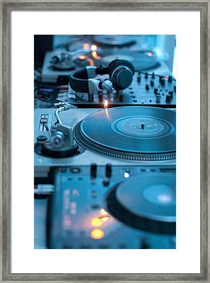 Record Player Station Of Dj Framed Print by Johannes Kroemer