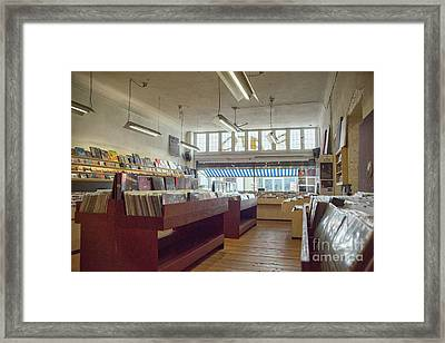 Records On Display At Record Store Framed Print by Patricia Hofmeester