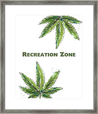Recreation Zone Sign- Art By Linda Woods Framed Print