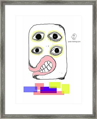 Rectangles With Face Framed Print by Yeah Nothing