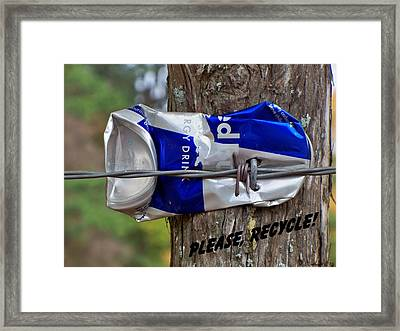 Framed Print featuring the photograph Recycle Please by Betty Northcutt