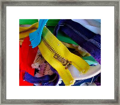 Recycle Your Zippers Framed Print by Gwyn Newcombe