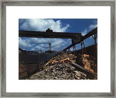 Recycling Scrap Steel During World War Framed Print