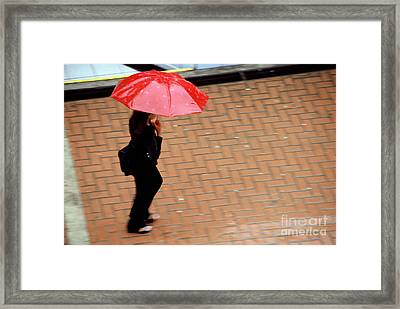 Red 1 - Umbrellas Series 1 Framed Print by Carlos Alvim