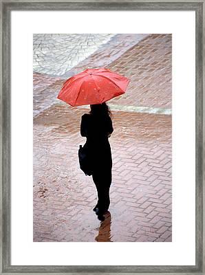 Red 2 - Umbrellas Series 1 Framed Print by Carlos Alvim