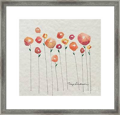 Red Abstract Floral Framed Print