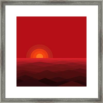 Red Abstract Sunset II Framed Print