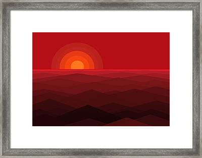Red Abstract Sunset Framed Print by Val Arie