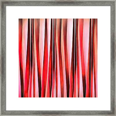 Red Adventure Striped Abstract Pattern Framed Print