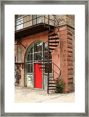 Red Alley Door Framed Print