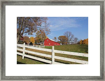 Red Amish Barn Framed Print by Donna Bosela