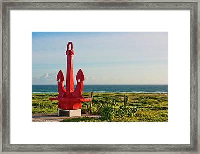 Red Anchor Framed Print
