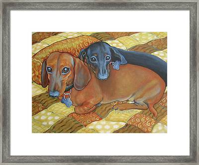 Red And Black Dachshunds - Best Buds Framed Print