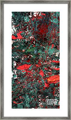 Red And Black Turquoise Drip Abstract Framed Print by Genevieve Esson