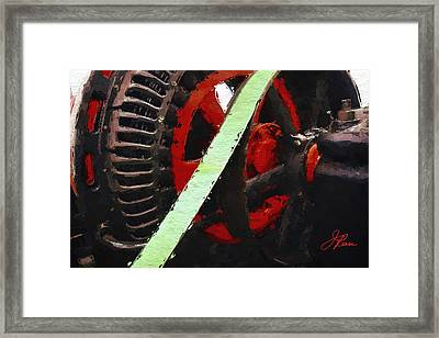 Framed Print featuring the painting Red And Black Wheel by Joan Reese