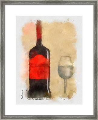 Red And Black Wine Bottle And Glass Framed Print