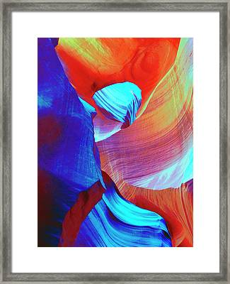 Red And Blue Abstract Swirls Framed Print by Marcia Socolik