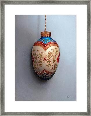 Red And Blue Filigree Egg Ornament Framed Print