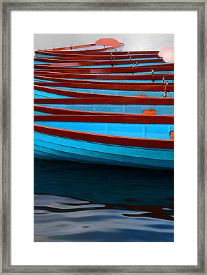 Red And Blue Paddle Boats Framed Print