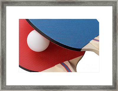 Red And Blue Ping Pong Paddles - Closeup Framed Print