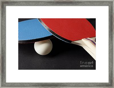 Red And Blue Ping Pong Paddles - Closeup On Black Framed Print